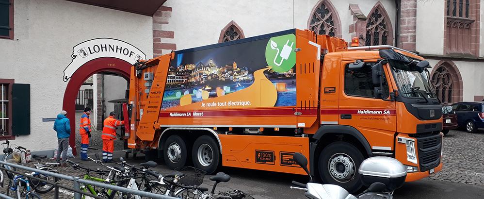 Foto: Designwerk; Elektrisches Müllfahrzeug fährt neu auch in Basel.
