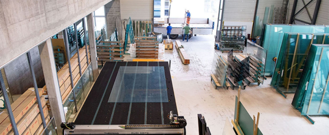 Foto: Glas Müller; Produktionsstätte der Glas Müller AG.