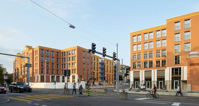 Bild: Seraina Wirz, Zürich; Blick von der Bellerivestrasse auf die neue Wohnüberbauung Areal Hornbach