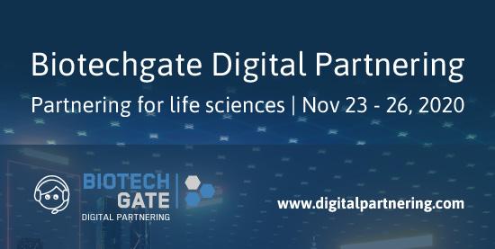 Bild: Biotechgate; Flyer for virtual business development event.