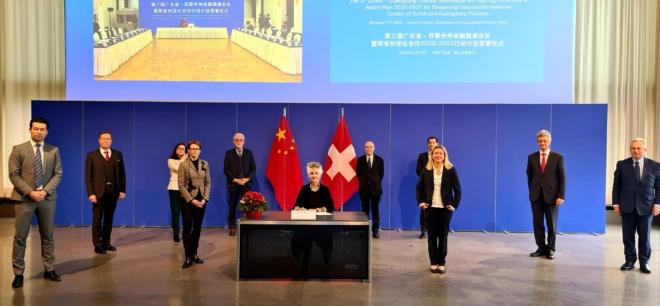 Bild: Valeriano Di Domenico; Regierungsrätin Carmen Walker Späh mit Delegation aus Wirtschaft und Verwaltung.