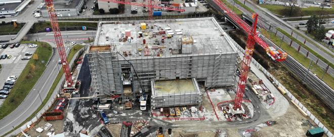 Bild: obs/Vantage Data Centers; Rohbau des neuen Campus von Vantage Data Centers in Winterthur.