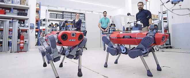 Bild: ANYbotics; Der vierbeinige Roboter ANYmal soll selbstständig Inspektionen in industriellen Bereichen durchführen.