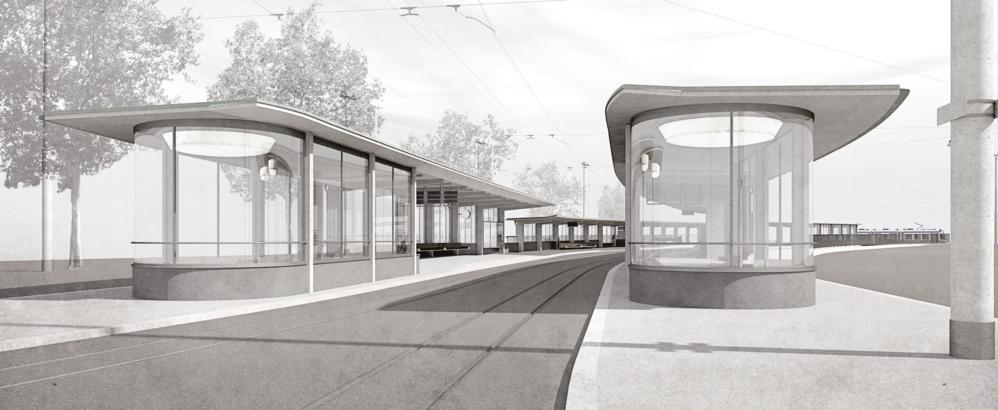 Bild: Joos Mathys Architekten AG, Zürich; Visualisierung Tramhaltestelle Bahnhofquai Siegerprojekt EGENDER - Perronauftakt Seite Landesmuseum