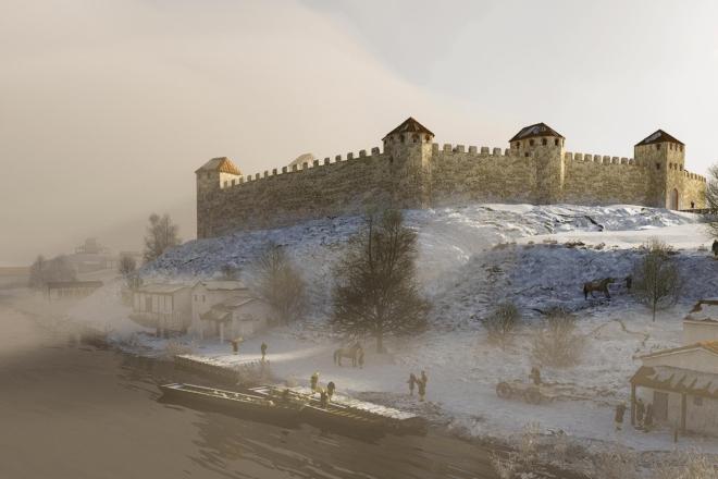 Bild: Archäologie Stadt Zürich / archaeolab.ch; Um die Mitte des 4. Jahrhunderts lebte die Bevölkerung von Turicum im Kastell auf dem Lindenhofhügel.