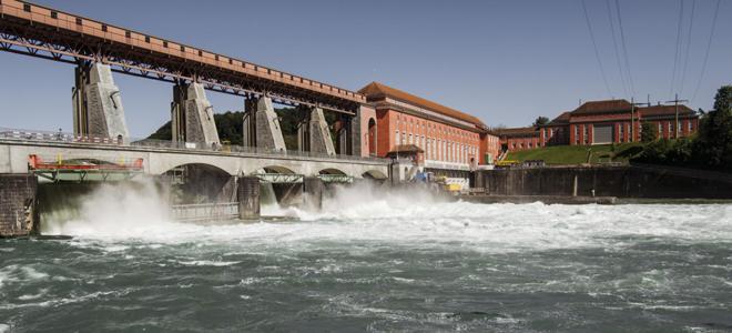 Bild: Axpo; Axpo will aus der Wasserkraft seines Kraftwerks Eglisau-Glattfelden Wasserstoff herstellen.