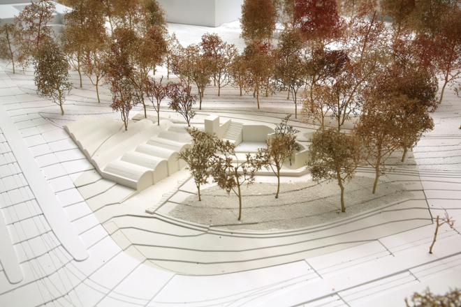 """Bild: HGZZ; Modelfoto des Siegerprojektes """"Reservoir"""", Perspektive 1."""