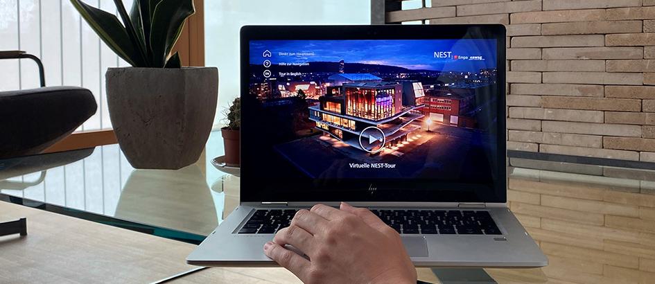 Bild: Empa; Das NEST kann jetzt im Rahmen einer virtuellen Tour besichtigt werden.